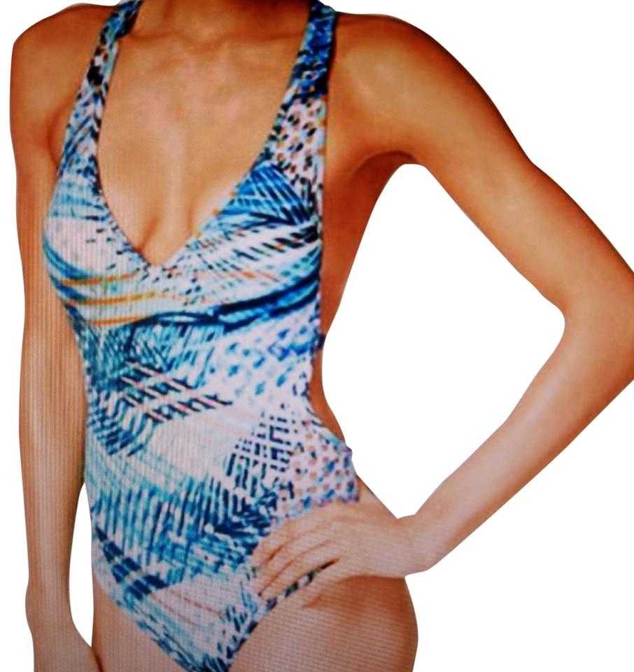 e7bf6b0b5315a Kenneth Cole Blue Multicolor Multi Print Tummy Toner Swimsuit S One-piece Bathing  Suit