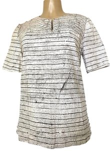 Tory Burch Short Sleeve Cotton Striped Top white