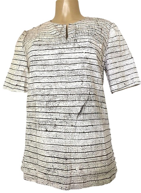 Preload https://img-static.tradesy.com/item/23178876/tory-burch-white-short-sleeve-cotton-striped-brown-printed-blouse-size-8-m-0-1-650-650.jpg