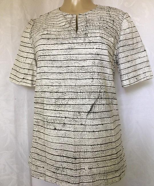Tory Burch Short Sleeve Cotton Striped Top white Image 1