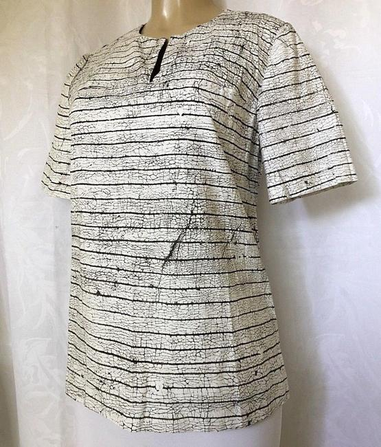 Tory Burch Short Sleeve Cotton Striped Top white Image 6