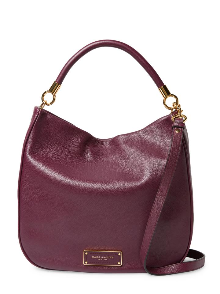 d83e5a7471bb Marc by Marc Jacobs M00125100 Too Hot To Handle Fig  Deep Bordeaux Leather  Hobo Bag