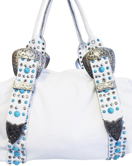 Preload https://img-static.tradesy.com/item/23178949/charm-and-luck-embellished-handbag-white-with-turquoise-rhinestones-color-stones-shoulder-bag-0-3-540-540.jpg