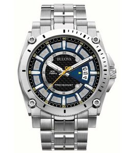 Bulova Bulova Precisionist Men's 96G131 Quartz Black-Blue Dial Silver Watch