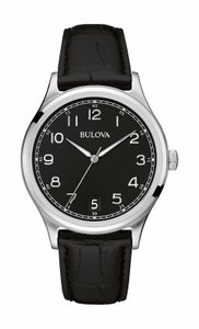 Bulova Bulova Men's 96B233 Classic Collection Quartz Black Dial Leather Watch