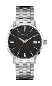 Bulova Bulova Men's Quartz Black Dial Silver-Tone Bracelet 39mm Watch 96B244