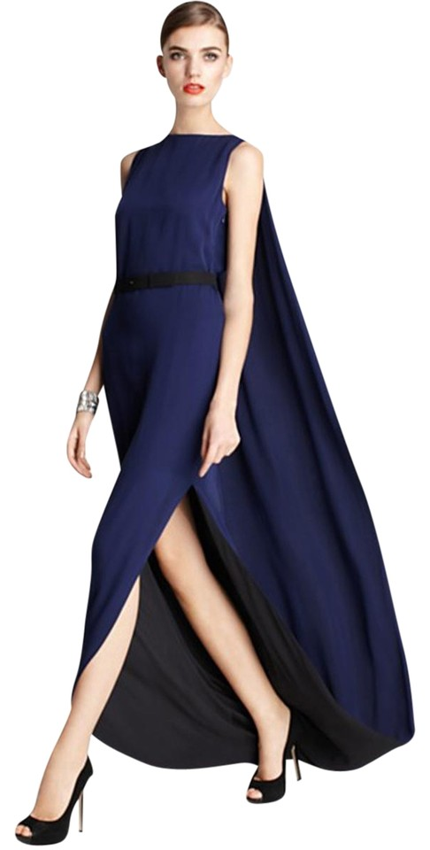 Halston Heritage Silk Caped Back Gown Long Formal Dress Size 6 (S ...