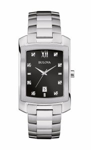 Bulova Bulova Men's 96D125 Quartz Black Dial Silver-Tone Bracelet 31mm Watch