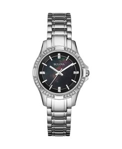 Bulova Bulova Women's 96L214 Crystal Accents Black Mother of Pearl Watch