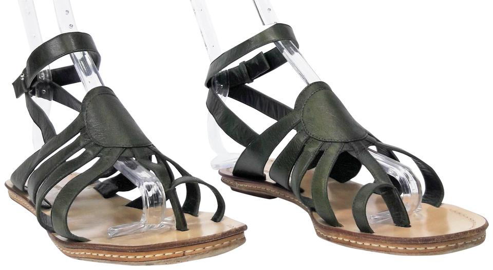 CoSTUME NATIONAL Green Leather Toe Sandals Ring Ankle Strap Flat Sandals Toe 93a976
