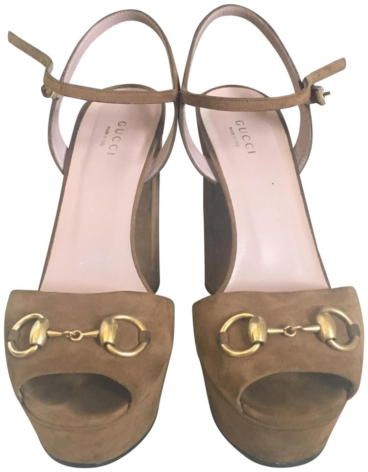 f5ef90330 Gucci Chocolate Horsebit Claudie Platform Sandals. Size: US 8 Regular ...