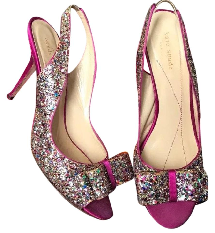8c3d73e3c4c56b Kate Spade Hot Pink Satin   Multi Glitter Charm Pumps Size US 9 ...
