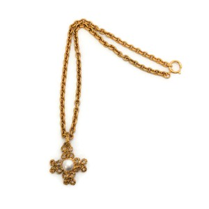 Chanel Vintage 1993 Gold Cross with Pearl