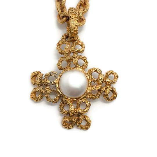 Chanel Vintage 1993 Gold Cross with Pearl Image 1