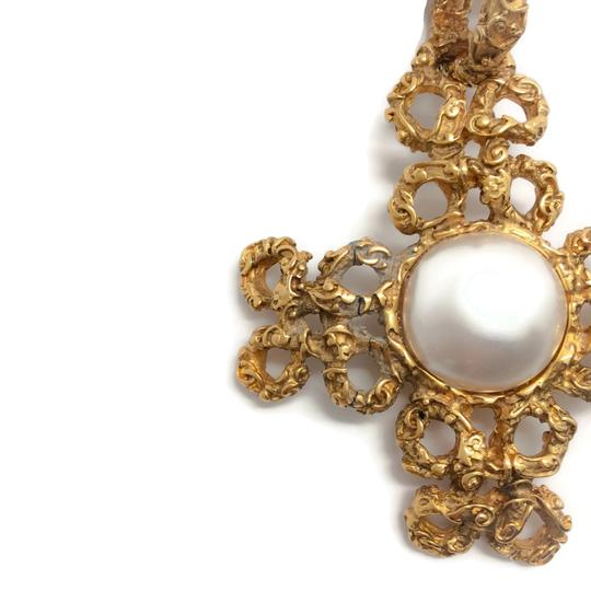Chanel Vintage 1993 Gold Cross with Pearl Image 2