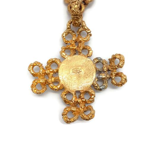 Chanel Vintage 1993 Gold Cross with Pearl Image 5