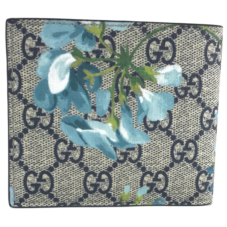 6be336b7fd45 Gucci GUCCI 408666 Men's GG Supreme Bloom Coated Canvas Bifold Wallet, Blue  Image 7. 12345678