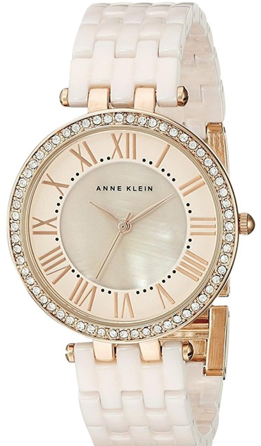 Item - Gold and Cream Pink Mother Of Pearl Dial Quartz Ladies Watch