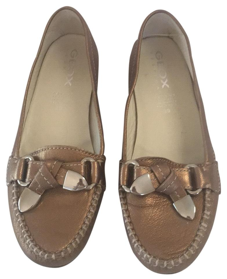 5222372a22815 Geox Metallic Gold Pebbled Leather Slip On Moccasin Loafer Flats ...