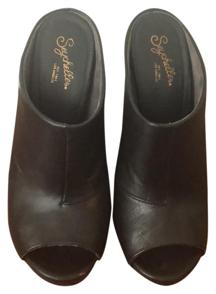 ladies settlement Seychelles Black Heeled Mules/Slides settlement ladies Price 333080
