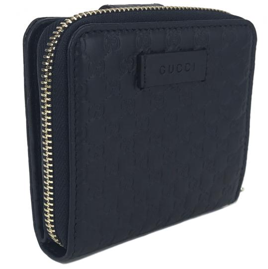 Gucci NEW GUCCI 449395 Microguccissima Leather Midnight Wallet, Blue Image 1