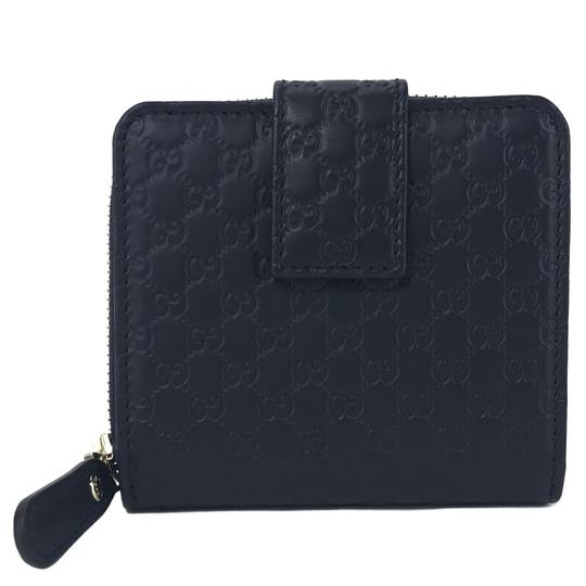 Gucci NEW GUCCI 449395 Microguccissima Leather Midnight Wallet, Blue Image 3