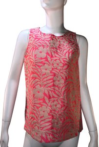 J.Crew Jacquard Print Summer Shell Sleeveless Top Pink and Beige