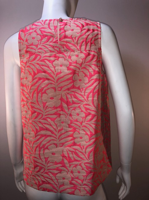 J.Crew Jacquard Print Summer Shell Sleeveless Top Pink and Beige Image 2