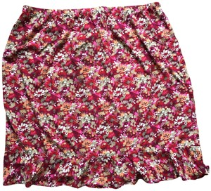 CJ Banks Plus Size Rayon Ruffled Skirt Floral