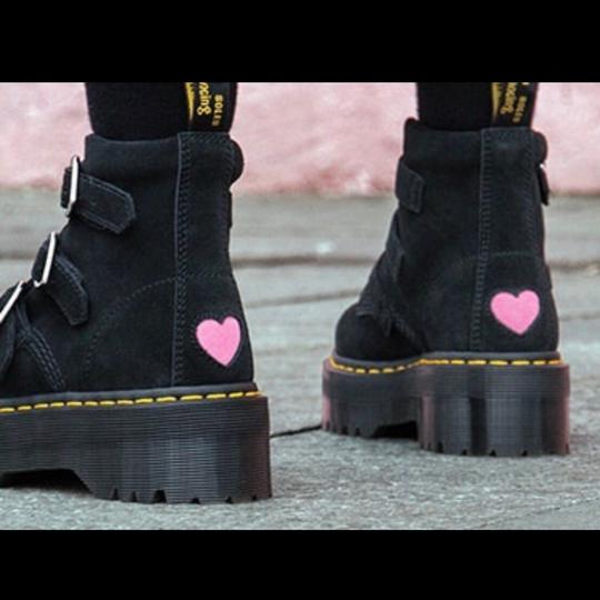 f33536104a7e Dr. Martens Black New X Lazy Oaf Heart Suede Buckle Boots Booties ...