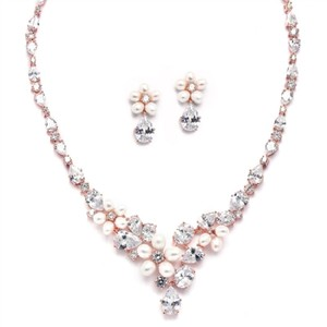Rose Gold Crystals Freshwater Pearl Necklace Earrings Jewelry Set