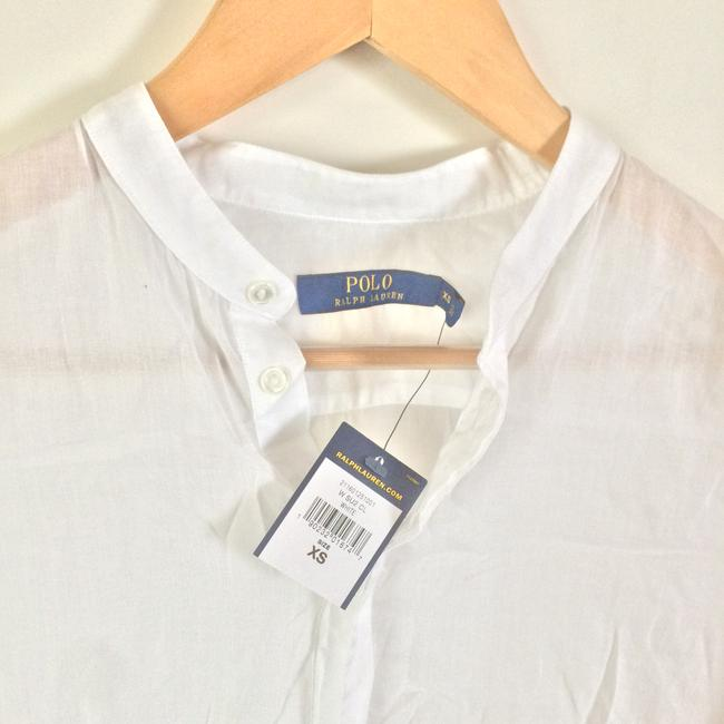 Polo Ralph Lauren Light Weight See Through Long Sleeved 3/4 Sleeve Top White Image 1