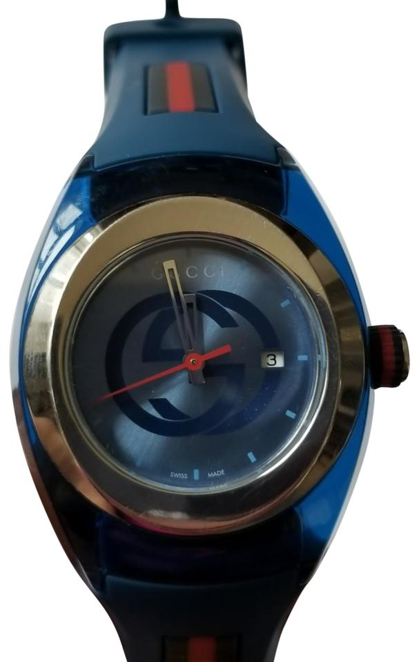 5dae2500bf6 Gucci Gucci Sync Unisex Swiss Blue and Red Rubber Strap Watch 36mm Image 0  ...