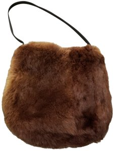 Annabel Ingall Leather Tote in Brown Rabbit Fur