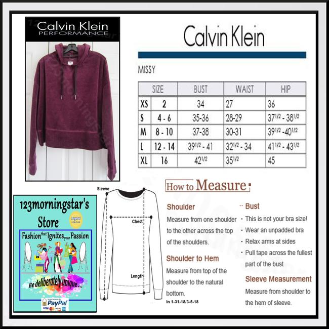 Calvin Klein Drawstring Velour Fabric 80% Cotton Cropped Pullover Style Sweatshirt Image 11