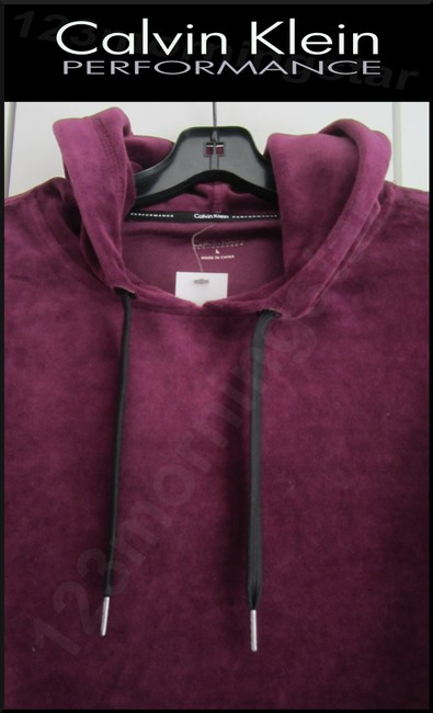 Calvin Klein Drawstring Velour Fabric 80% Cotton Cropped Pullover Style Sweatshirt Image 3