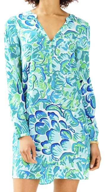 Preload https://img-static.tradesy.com/item/23180727/lilly-pulitzer-blue-green-agate-lazy-river-delphine-stretch-silk-tunic-short-cocktail-dress-size-2-x-0-1-650-650.jpg