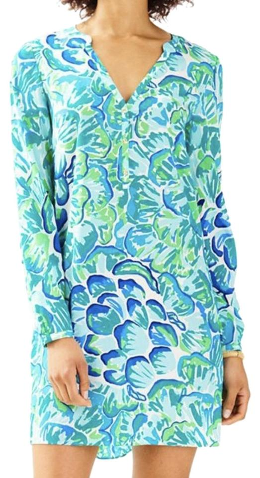 9090cc1e65fa30 Lilly Pulitzer Blue Green Agate Lazy River Delphine Stretch Silk Tunic  Cocktail Dress