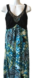 Aqua black Multi Maxi Dress by Maurices Tropical Summer New