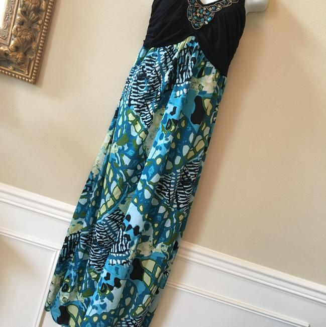 Aqua black Multi Maxi Dress by Maurices Tropical Summer New Image 1