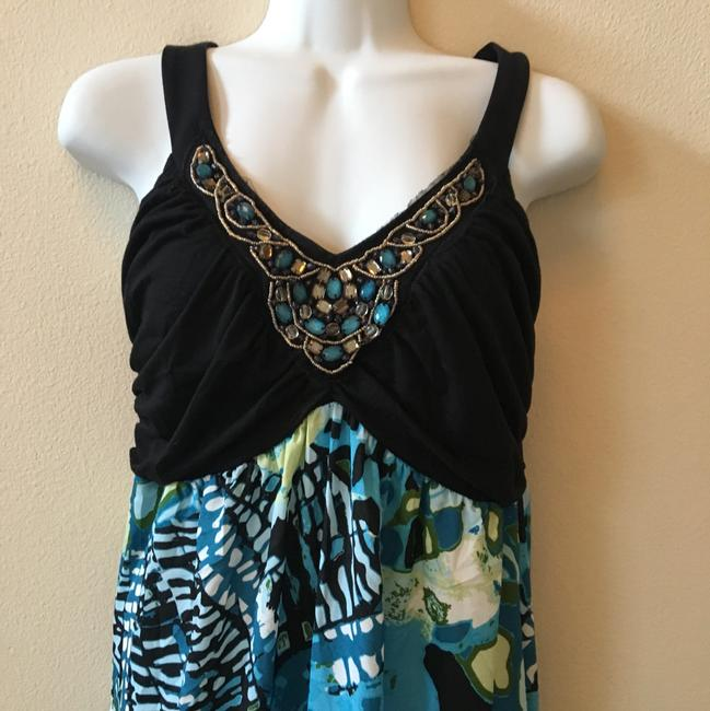 Aqua black Multi Maxi Dress by Maurices Tropical Summer New Image 3