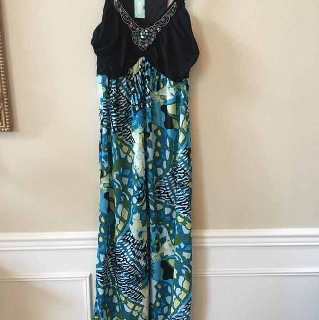 Aqua black Multi Maxi Dress by Maurices Tropical Summer New Image 6