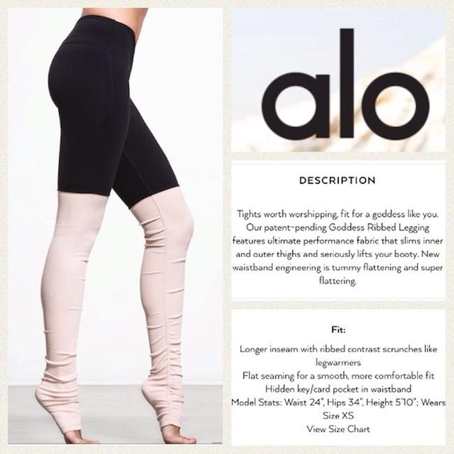 Alo Goddess Ribbed Leggings Black over Rose Water Image 1