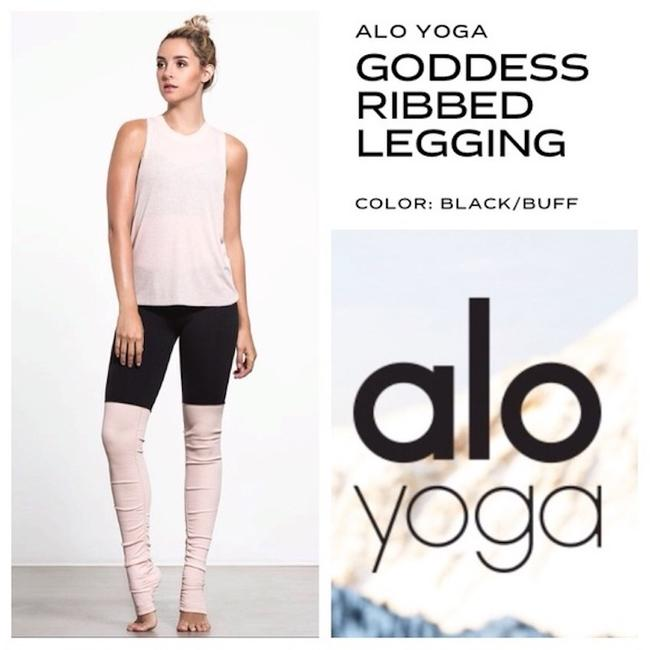 Alo Goddess Ribbed Leggings Black over Rose Water Image 3