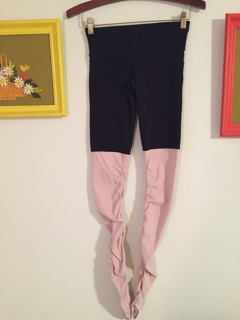 Alo Goddess Ribbed Leggings Black over Rose Water Image 6