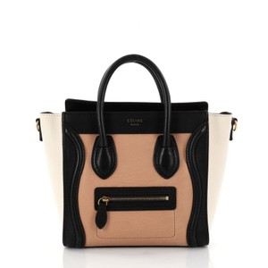 Céline Leather Tote in peach and black with off white