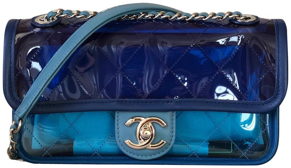 9dd8617f807c Chanel Runway Quilted Flap Blue/Dark with Silver Chain Blue Pvc ...