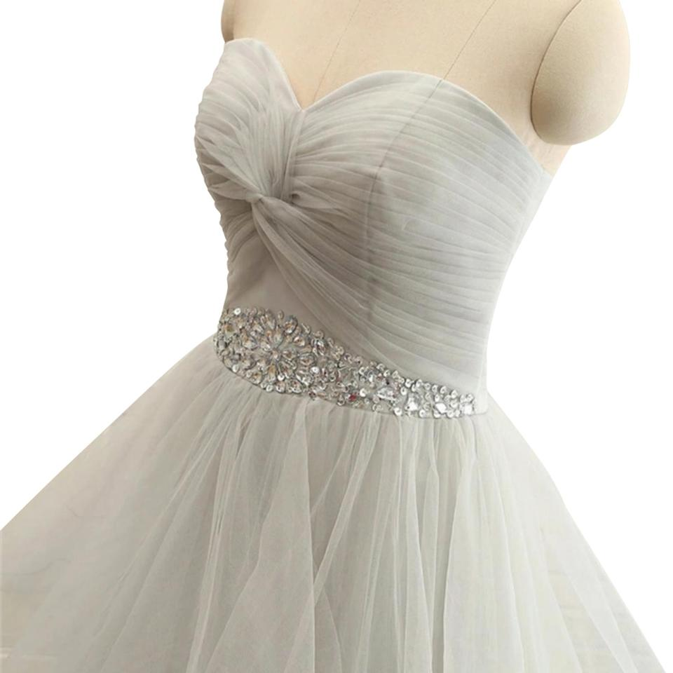 Silver Jeweled Ball Gown Long Formal Dress Size 16 (XL, Plus 0x ...