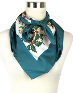 Gucci Gucci Large Silk Scarf Floral Scarf with Green Trim 022796 4409