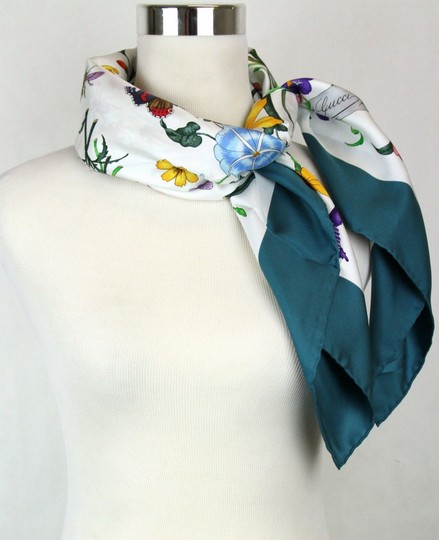 Gucci Gucci Large Silk Scarf Floral Scarf with Green Trim 022796 4409 Image 1